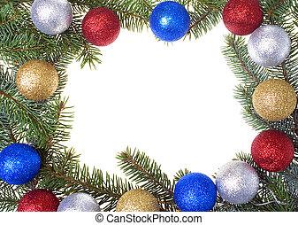 Christmas frame with glass balls