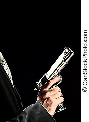 security guard - young men with chromed pistol,posterised