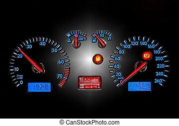car dashboard - blue neon car dash board,isolated