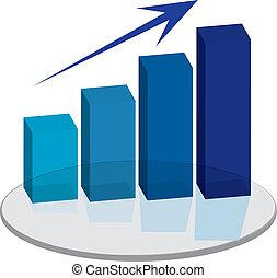 sales plinth blue up arrow - A blue graph that show the...