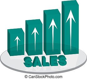 sales plinth green up text - A bar graph in green that can...
