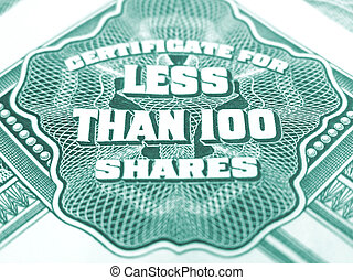 Certificate for less than 100 shares - Green certificate for...