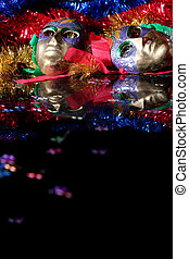 Carnival - Colorful Venice masks on a black background