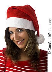 Christmas woman - Beautiful woman with a Santa Claus visual