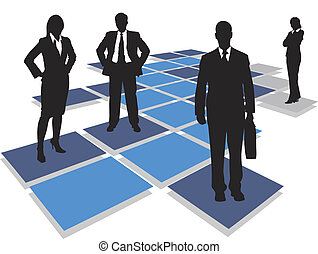 business team - business people standing on tiles,