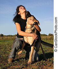 sexy woman and dog - pretty woman and her purebreed german...