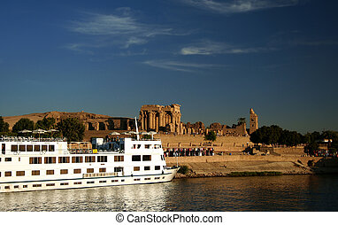 Nile Cruise Boat at Kom Ombo - A Nile Cruiser docked at the...