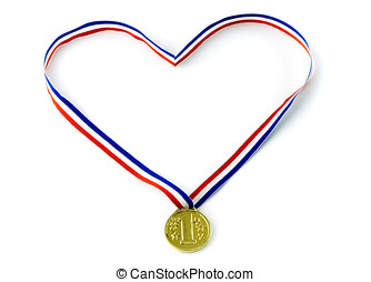 Medal - Red, white and blue ribbon hold a gold medal.Heart...