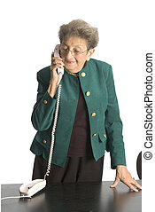 business woman mature on phone - smiling on telephone mature...