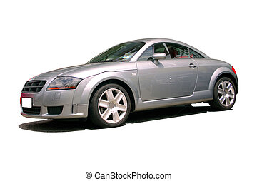 silver sports car with clipping path