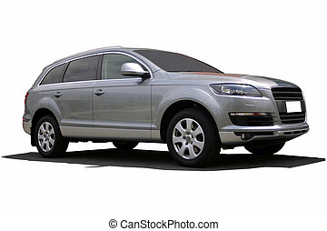 silver sports suv - silver suv with clipping path