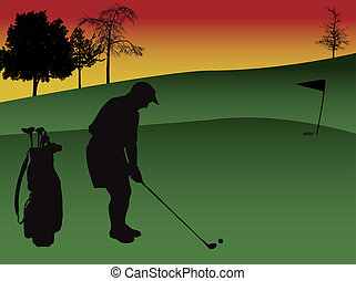 golfing - silhouette of a golfer playing golf in a golf...