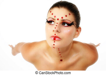 Ruby Princess - Beautiful young woman in artistic make-up,...