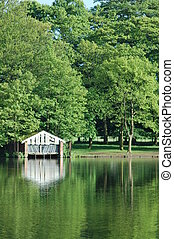 Boathouse on the lak - A boathouse on an English lake