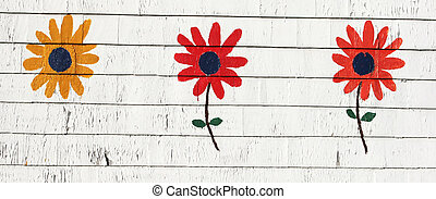Painted flowers - Three colorful flowers painted on a wooden...