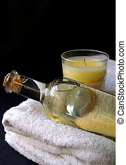 Massage oil - corked bottle of massage oil and relaxing...