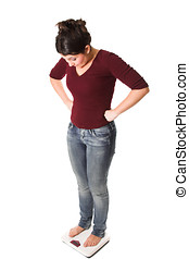 Surprising results - Woman standing on the scale with her...