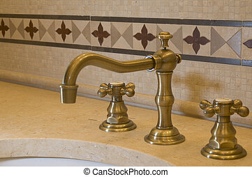 tile detail faucet bathroom - detail custom tile work...