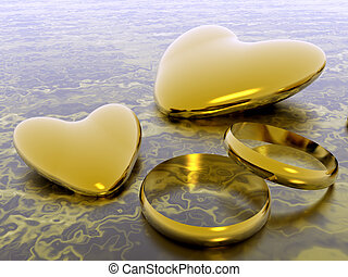 Valentine hearts, wedding rings, holiday love. - Valentine...