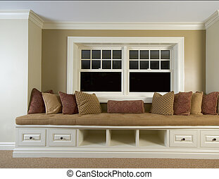 custom built in bench with window details mansion residence