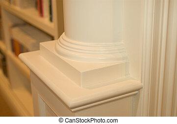 custom woodwork corner trim in mansion library