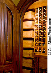 mahogany door and wine cellar - custom built mahogany door...