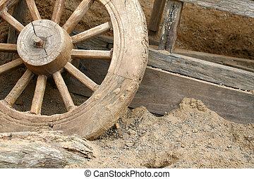 Old Cartwheel Abstract - Old cartwheel abstract with dusty...