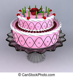 Cake - A 3D render of birthday and wedding cake