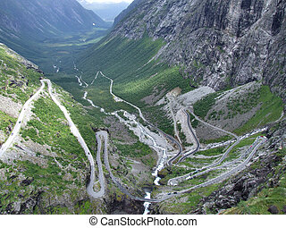 Trollstigen - tortuous mountain road - Famous Norwegian...