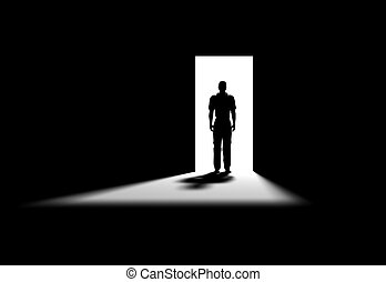 black room - Inside a room with man on the opened door