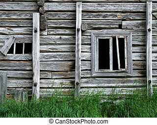 Old abandoned wooden house - Abandoned wooden building in...