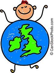 uk kid - happy little caucasian boy dressed up as a globe of...