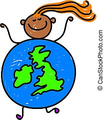 uk kid - happy little ethnic girl dressed up as a globe of...