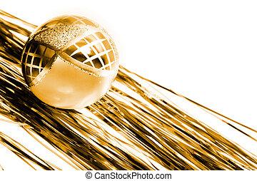 yellow chrismas decoration - yellow christmas ball and shiny...