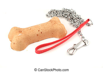 dog bone and leash - crunchy dog biscuit treat shaped like a...