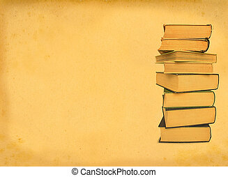 antique books on retro background