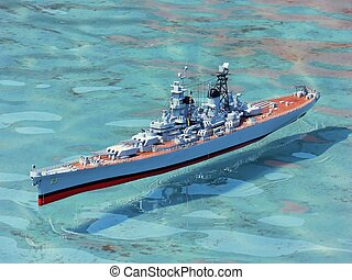 Model warship 2058 - A model US warship in a public pond...