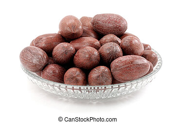 pecan nuts with white background