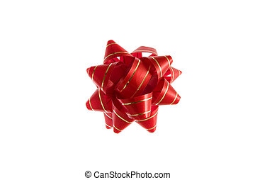 Red Christmas bow - A decorative red and golden Christmas...