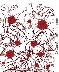 valentine background - red roses on a vine on white...