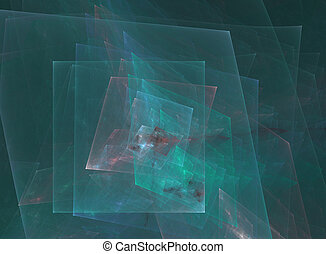 Cubism - A computer generated abstract image; fractal blue...