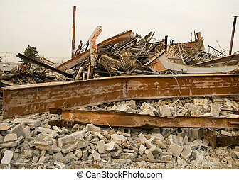 Destroyed Building Rubble with Bent Beams and Cylinder...