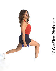 woman exercising  squat with dumbells fitness instructor
