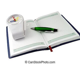 caderno, relógio