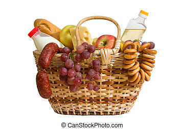 basket with food - basket with apples, grapes, milk, oil,...