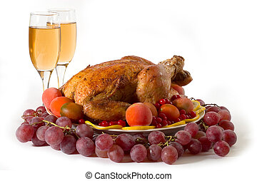roasted turkey - Roasted chicken or turkey garnished with...
