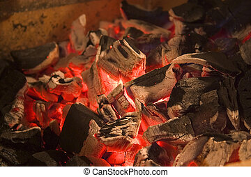hot coals - red hot coals for roasting meat Soft-focused...