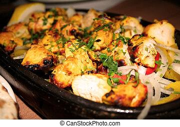 galinha, kabab