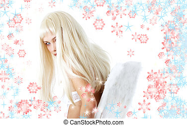 winter angel with snowflakes