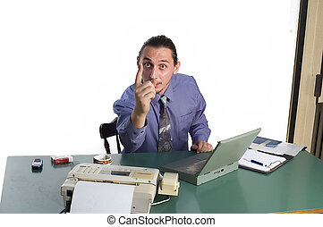 Sign finger - Angry businessman giving the finger with a...
